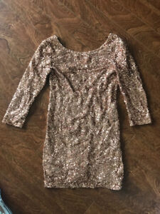Sequin rose gold dress perfect for New Years