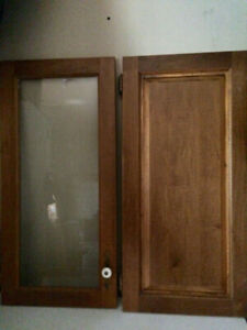 Solid wood and glass cupboard doors