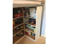 Wardrobe and shelves for under high sleeper bed