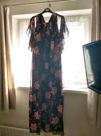 Pink/Black Floral Dress Size
