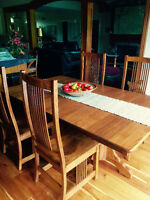 OAK MISSION STYLE DINING SET $1800