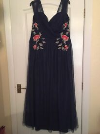 Little Mistress Floral Embroidered Maxi Dress in navy