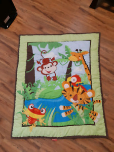 Fisher price jungle pals complete crib sheet and mobile set