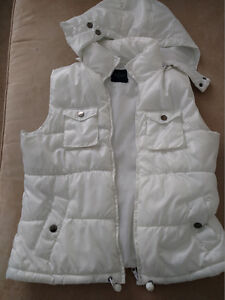 WOMEN'S SPRING QUILTED PUFFER VEST WHITE FADED GLORY EXC