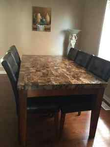 Marble dinning table with 6 leather chairs set