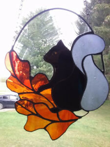 Stained Glass Black Squirrel