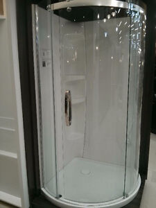 Maax corner shower glass door and base