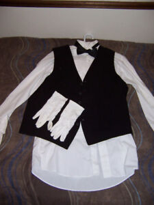 Waiter's Vest; Tuxedo shirt, vest, bow-tie, white gloves; -$95