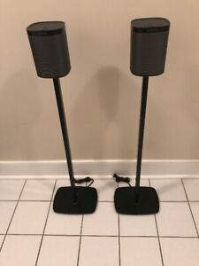 Sonos Play 1s with Floor Stands