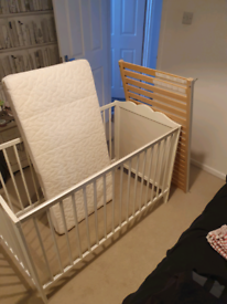 White IKEA cot bed and memory mattress