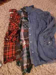 Maternity flannels and denim button up shirt