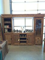 TV entertainment stand with gun cabinet