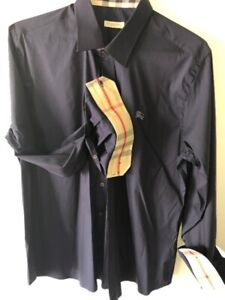 LIKE NEW BURBERRY SHIRT NAVY COLOR ( SIZE XL EUROPE / L US ) MEN