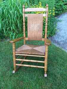 Oak and rattan rocking chair