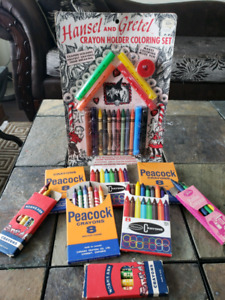 Wow! Seriously VINTAGE MINT Box Crayola CRAYONS SETS 1960s 1970s