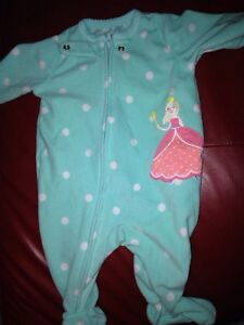 Carters baby girl princess sleepers size 3months