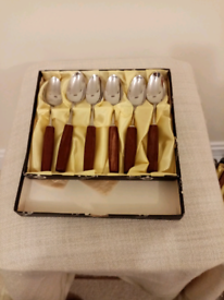Antique Monogram cutlery boxed set of 6 tea spoons