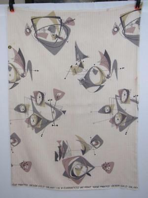 RECLAIMED Vintage ATOMIC Mid-Century Drapery Fabric Panel GOLD GALAXY Pink Gray