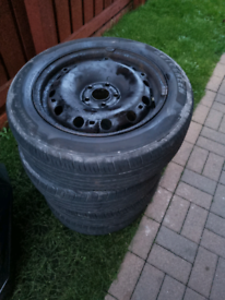 """4 - 5x100 15"""" wheels with good tyres"""