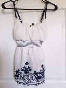 Lovely Extra Small White and Navy Blue Strappy Tank
