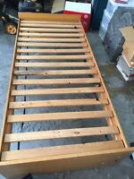 IKEA pine bed frame and mattress