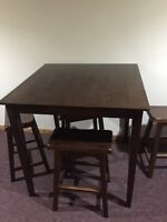 Espresso Pub Style Table with Four 24 inch Stools