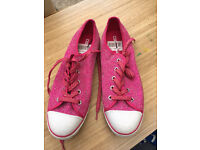 Women sparkling converse pink trainers size 7