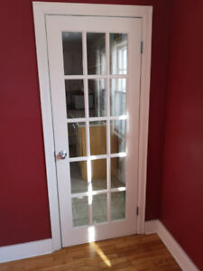 Interior glass panel solid single doors, two different sizes