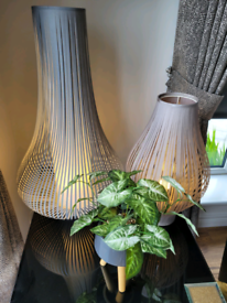 2 Beautiful Grey Ribbon Table Lamps