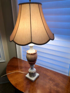 Antique Alabaster Stone Table Lamp