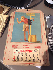 "Vintage 1947 Kingston Creameries ""Pin-Up"" Calendar."