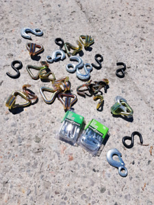 Assorted steel hooks and quick links