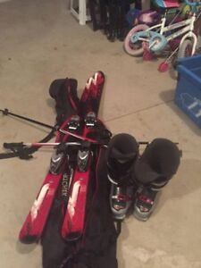 Ski boots poles and bag package