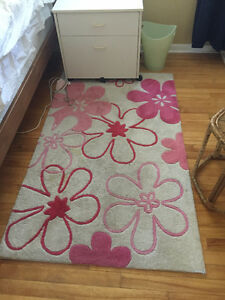 Pink Flower Rug - Great for Kids Room