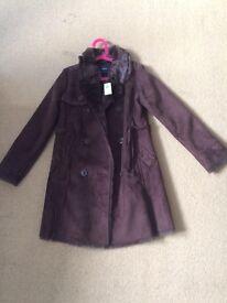 Brand new GAP girls brown suede winter coat