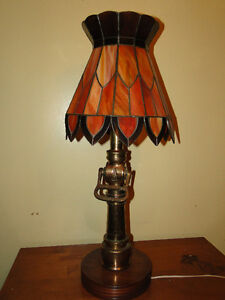 Stained Glass Firefighter's Lamp - Unique one of a kind