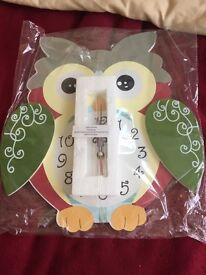 Children's boys or girls wooden owl clock bedroom furniture