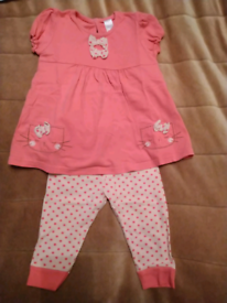 Next Baby Girls Pink Top And Leggings Outfit 6-9 Months