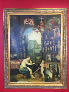 Big oversized painting with golden frame