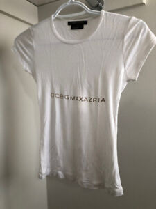 BCBG white logo t-shirt, small/XS - $4