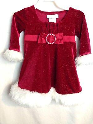 Bonnie Baby -Girl Santa Claus Shimmering red Dress w/Fur Trim  Size 12 - Santa Claus Girl Dress