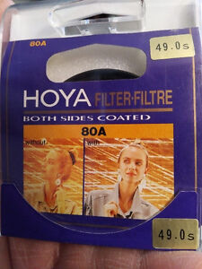 HOYA 80A and TiFFEN FL-D 49mm filters and 37mm adapter