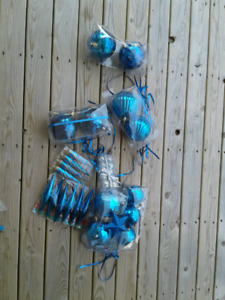 Blue Plastic Christmas Ornaments NEW