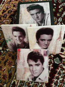 ELVIS Presley Coasters Inside Wood Box. COLLECTIBLE.