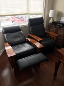 2 recliners real leather and wood