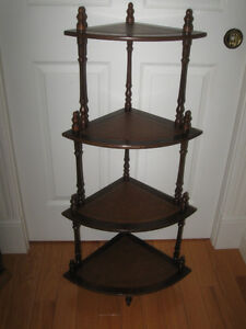 UNIQUE 4-SHELF ANTIQUE WHAT-NOT DISPLAY STAND