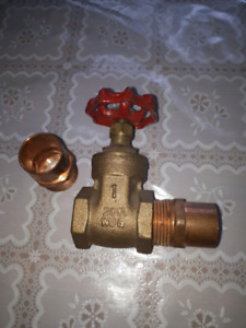 1 inch brass shut off valve and two copper in