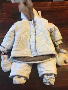 Ensemble manteau pantalon d'hiver bleu ciel 18 mois Kushies