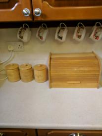 Pine bread bin and TCS jars