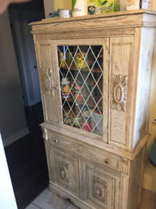 MID CENTURY CIRCA 1940'S OAK CHINA CABINET